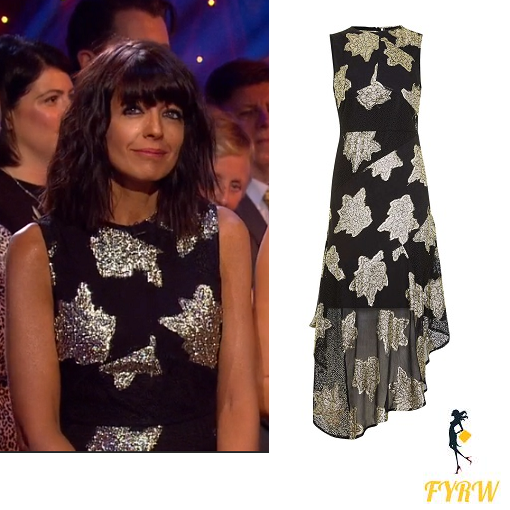0f8b0c0dfc82 Claudia Winkleman Black and Gold Dress – Strictly Week 10 2016