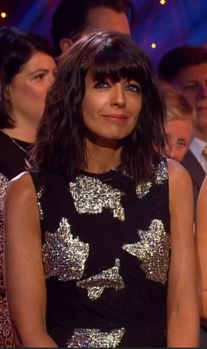 fd8cc3639fe9 Claudia Winkleman Black and Gold Dress – Strictly Week 10 2016 ...