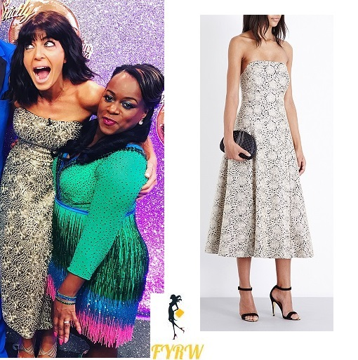 50ca42cfa67e Claudia Winkleman Gold Embroidered Dress – Strictly Final 2016