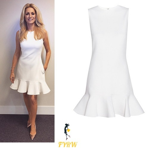 7081ef84856 Tess Daly White Flounce Dress- Strictly Christmas Special 2016 ...