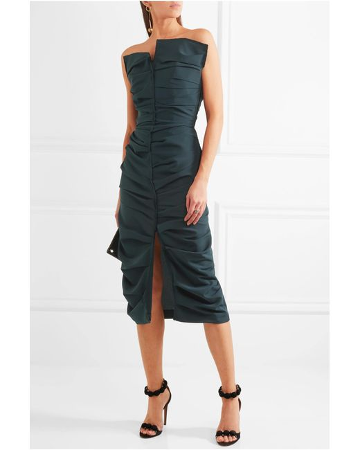 carmen-march-strapless-ruched-crepe-dress-2