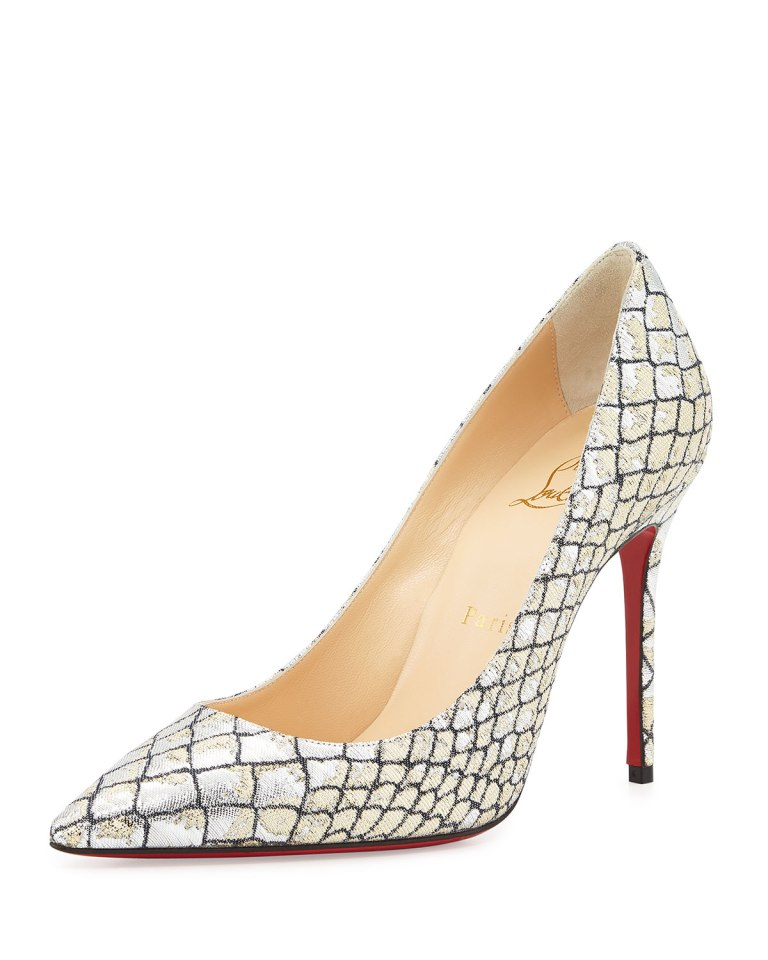 louboutin-decollete-snake-embossed-silver-pumps