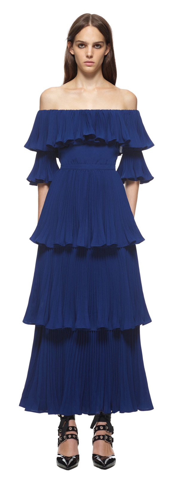 Self Portrait Flounced Off Shoulder Dress
