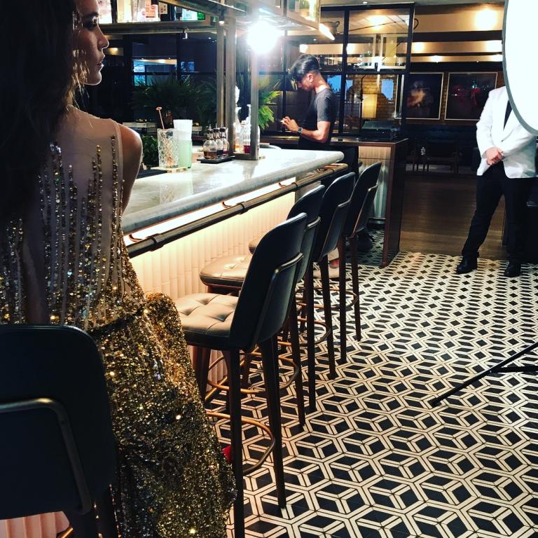 Amanda Thompson gold sequin dress AW17