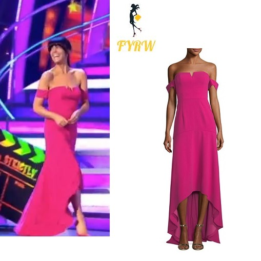 Claudia Winkleman Pink Off The Shoulder Gown Strictly Come Dancing