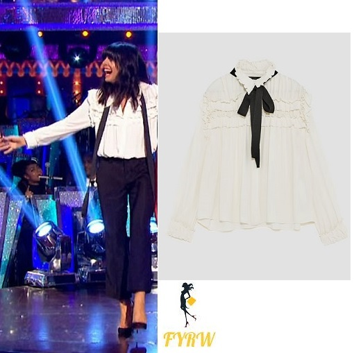 7084f72095dae4 Claudia Winkleman White Ruffled Blouse Strictly Come Dancing Week 5 ...