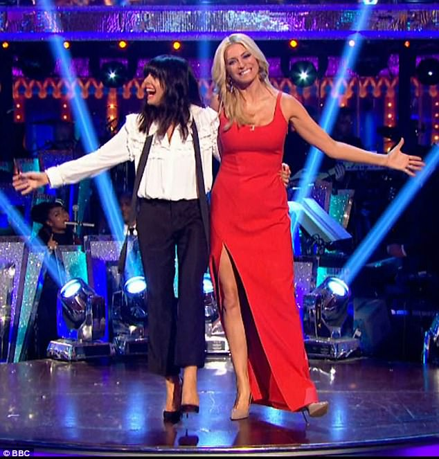 Claudia Winkleman white ruffle blouse Strictly Come Dancing 2017