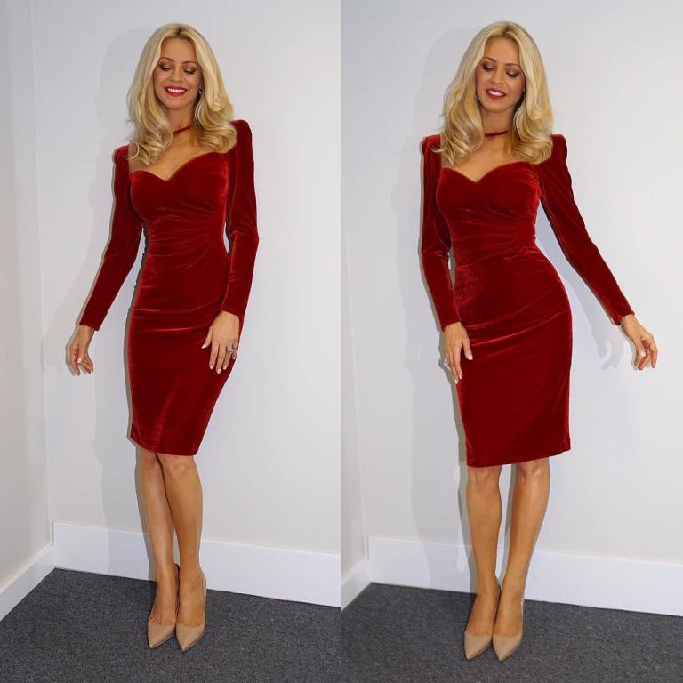 Tess Daly Red Velvet Dress Strictly Come Dancing Week 6 ...