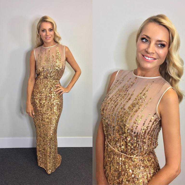 Tess Daly Strictly dress gold sequin 2017 photo James Yardley