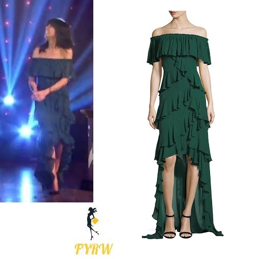 4bc40256105c Claudia Winkleman Green Ruffle Off The Shoulder Gown Strictly Come Dancing  Week 9 2017