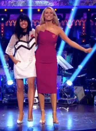 Claudia Winkleman white lace dress Strictly come Dancing 2017