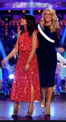 Claudia Winkleman red halter constellation dress Strictly Come Dancing December 2017