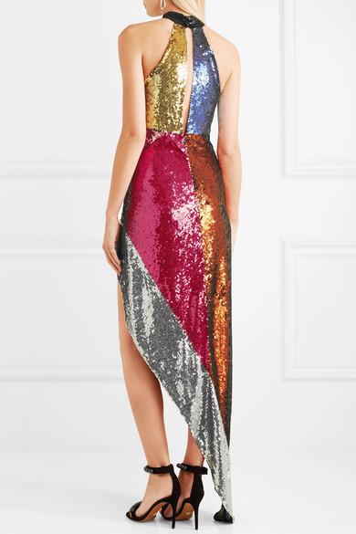 Attico Alice Asymmetric Sequined Tulle Midi Dress back view