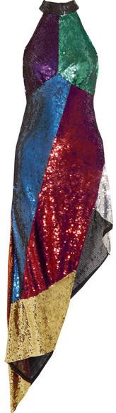 Attico Alice Asymmetric Sequined Tulle Midi Dress