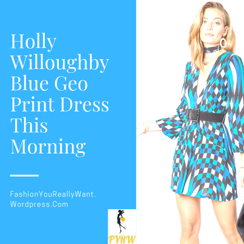 Holly Willoughby outfit blog blue and black geometric print dress blue polo neck blue suede ankle boots This Morning January 2018