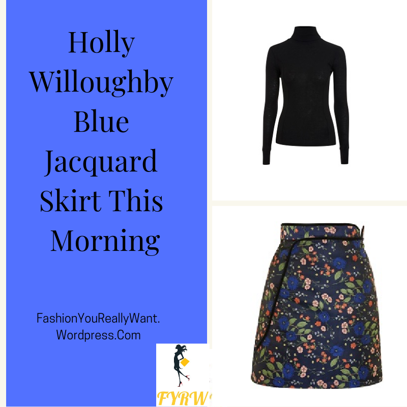 Holly Willoughby outfit black funnel neck top blue jacquard skirt black hoop boots This Morning January 2018