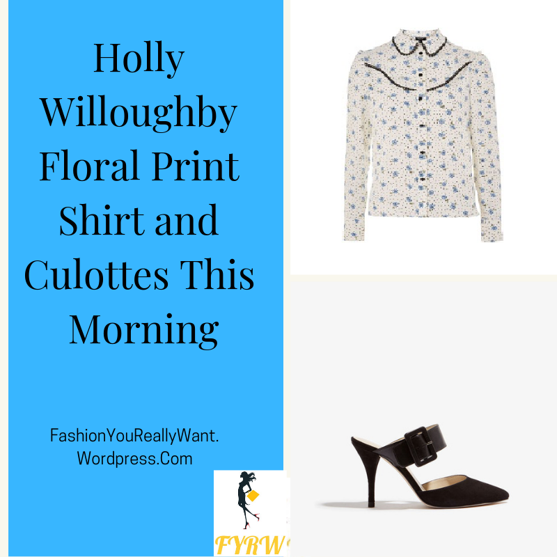 Holly Willoughby outfit clothes fashion blog floral and spot western blouse trousers black buckle mules This Morning January 2018