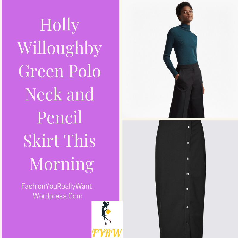 Holly Willoughby outfit This morning green polo neck jumper green side fastening pencil skirt nude suede court shoes This Morning January 2018