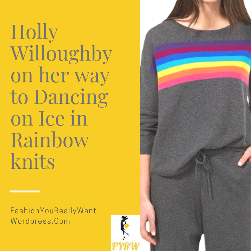 Holly Willoughby outfit rainbow stripe grey top and leggings trousers January 2018