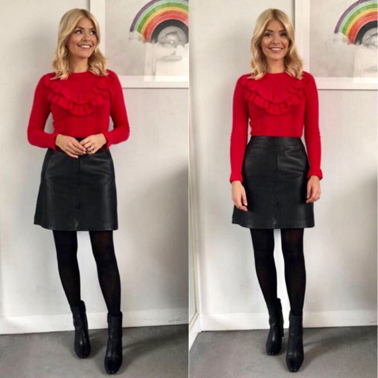 Holly Willoughby outfit red frill top black skirt black boots This Morning January 2018