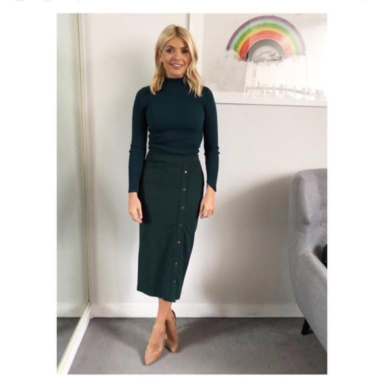 Holly Willoughby outfit black polo neck black button skirt This Morning January 2018
