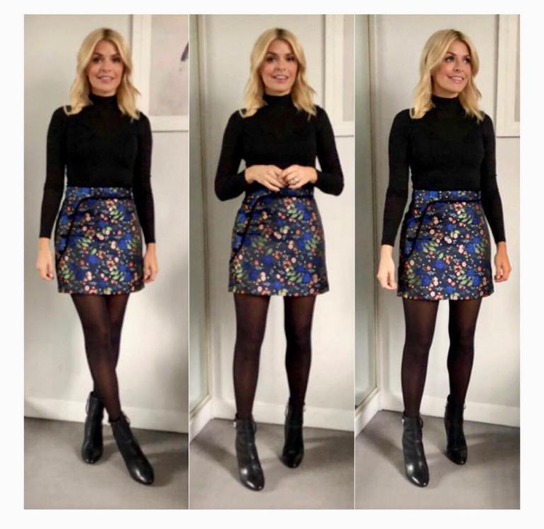 Holly Willoughby outfit black polo neck blue floral skirt This Morning January 2018