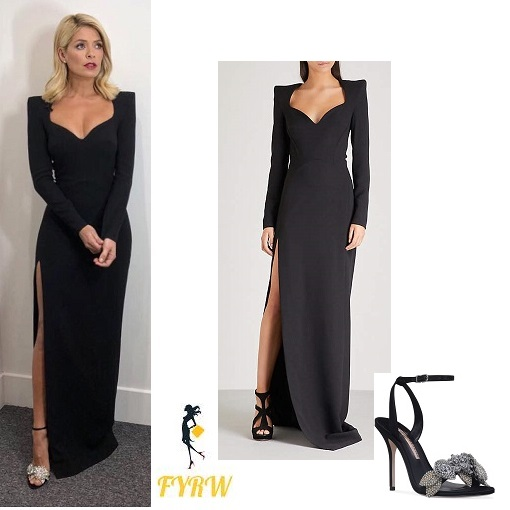 Holly Willoughby outfit black sweetheart gown Dancing on Ice January 2018
