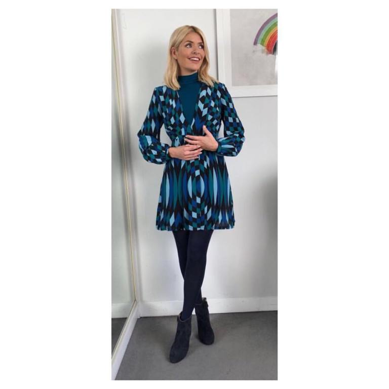holly willoughby outfit blog black and blue geometric dress blue suede ankle boots This Morning January 2018
