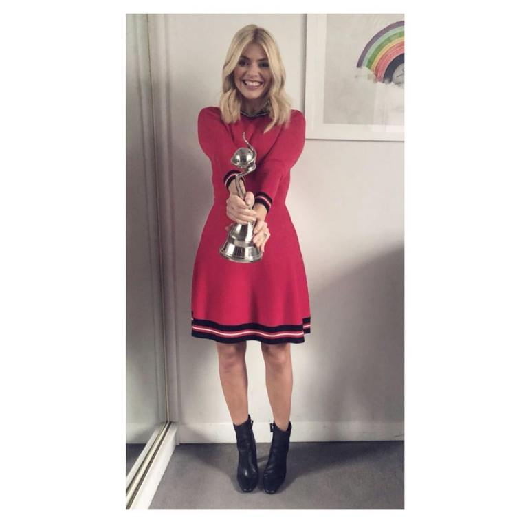 Holly Willoughby outfit blog red dress black trim This Morning January 2018