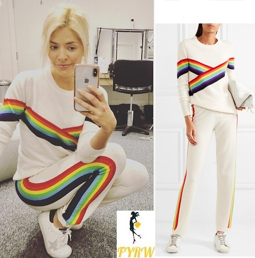 Holly Willoughby outfit blog white rainbow jumper and tracksuit bottoms Dancing on Ice rehearsal January 2018
