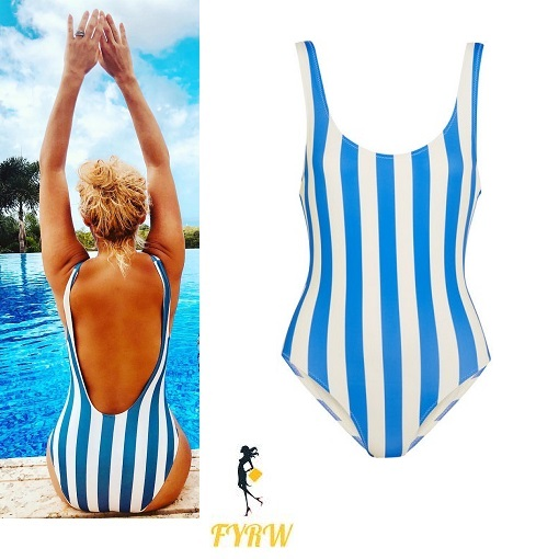 463d9bb75a8 Holly Willoughby Cools Down in a Blue and White Striped One Piece at ...