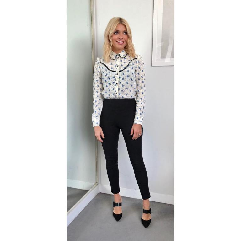 Holly willoughby outfit floral and dot shirt trousers buckle mules This Morning January 2018