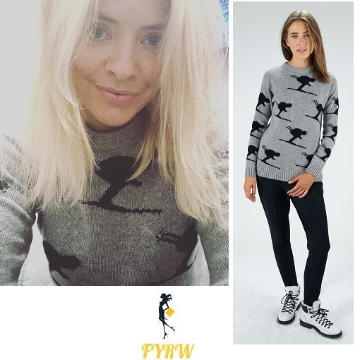 Holly Willoughby outfit grey and black ski jumper January 2018