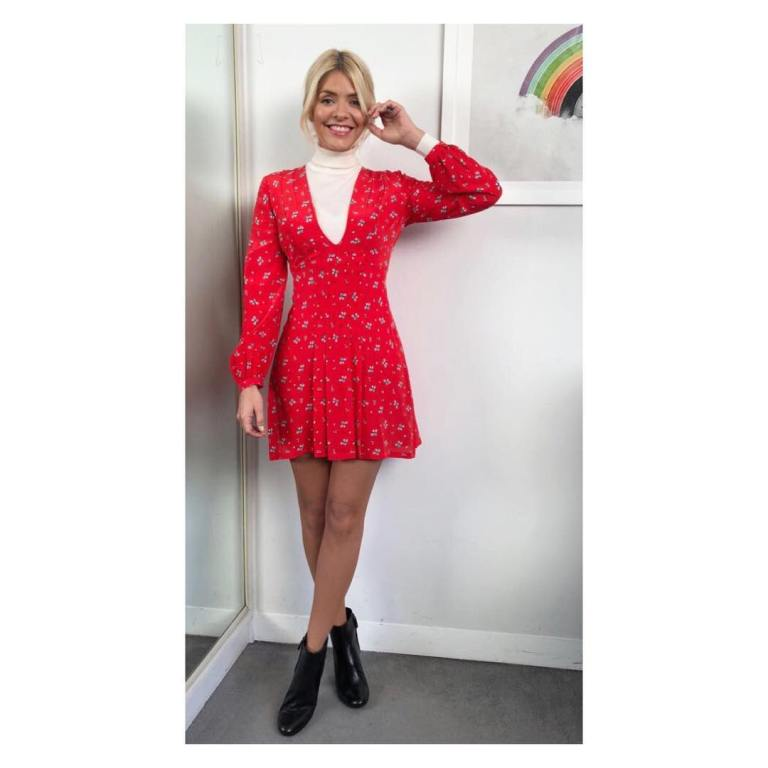 Holly Willoughby outfit red long sleeve dress white polo neck black boots This Morning January 2018