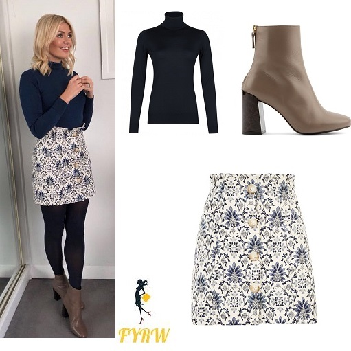Holly Willoughby outfit This Morning blue polo neck jacquard skirt brown boots January 2018