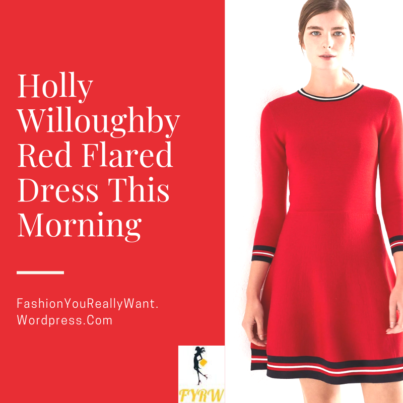 Holly Willoughby outfit blog red dress black striped trim black ankle boots This Morning January 2018