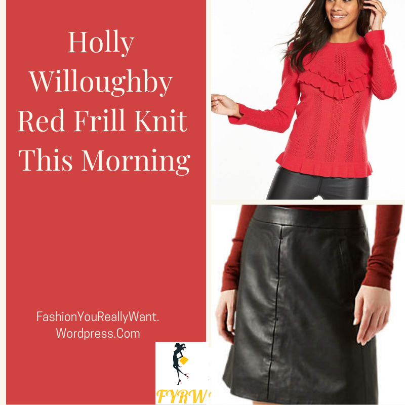 Holly Willoughby outfit This Morning red fill knit black leather mini skirt black ankle boots This Morning January 2018