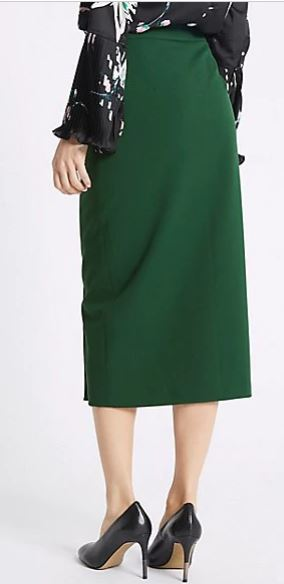 Marks and SpencerCollection Side Snap Boxy Pencil Midi Skirt back view green