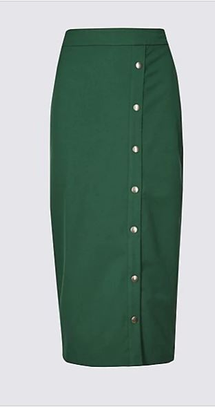 Marks and SpencerCollection Side Snap Boxy Pencil Midi Skirt green