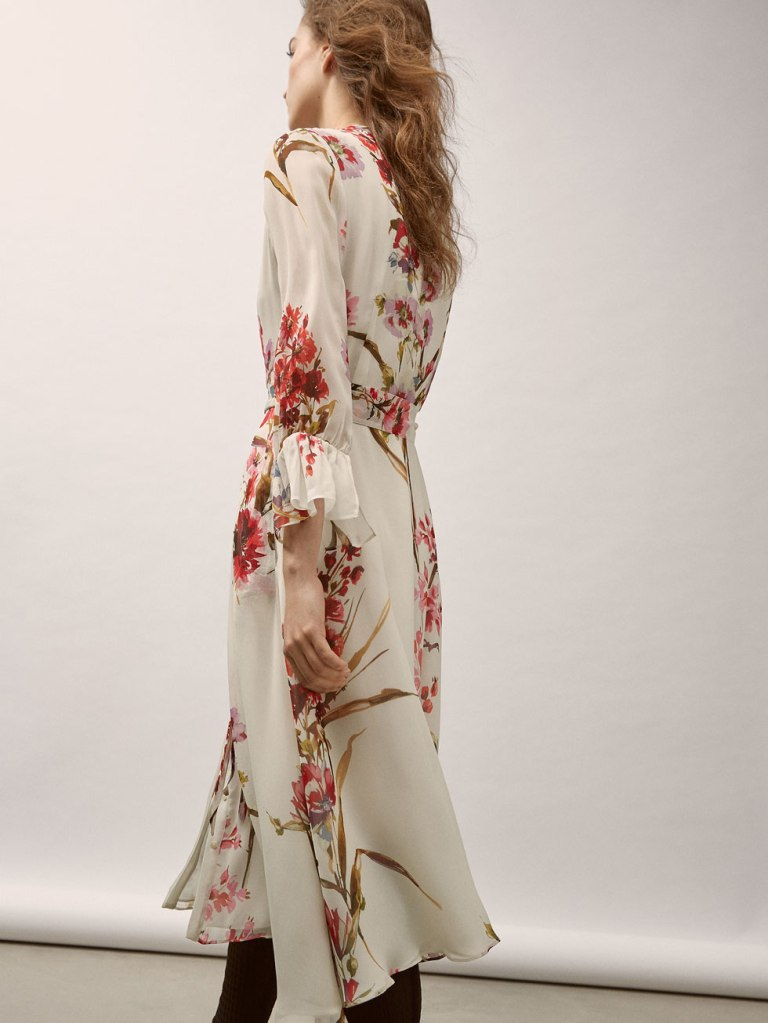 Massimo Dutti Georgette Dress With Floral Print back view