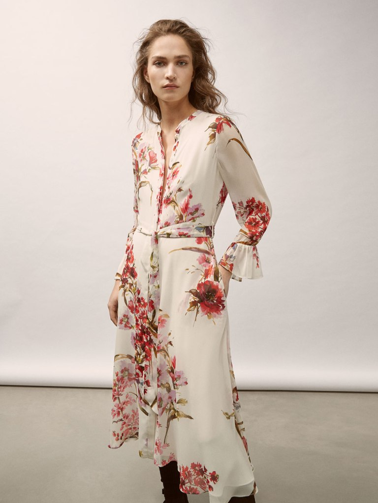 Massimo Dutti Georgette Dress With Floral Print