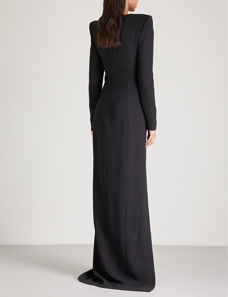Mugler Padded shoulder crepe gown back view