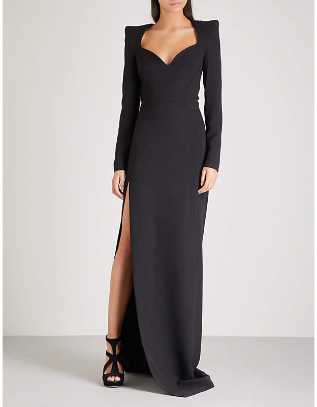 Mugler Padded shoulder crepe gown