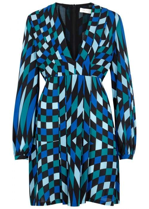 RIXO London Harper Printed Silk Chiffon Mini Dress