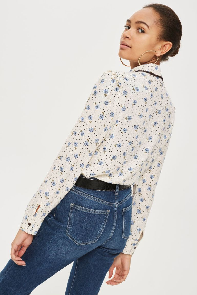 Topshop Floral and Spot Print Shirt back view