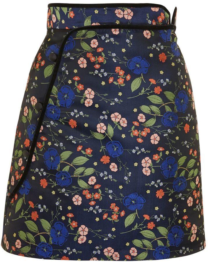 Topshop Floral Satin Jacquard Mini Skirt