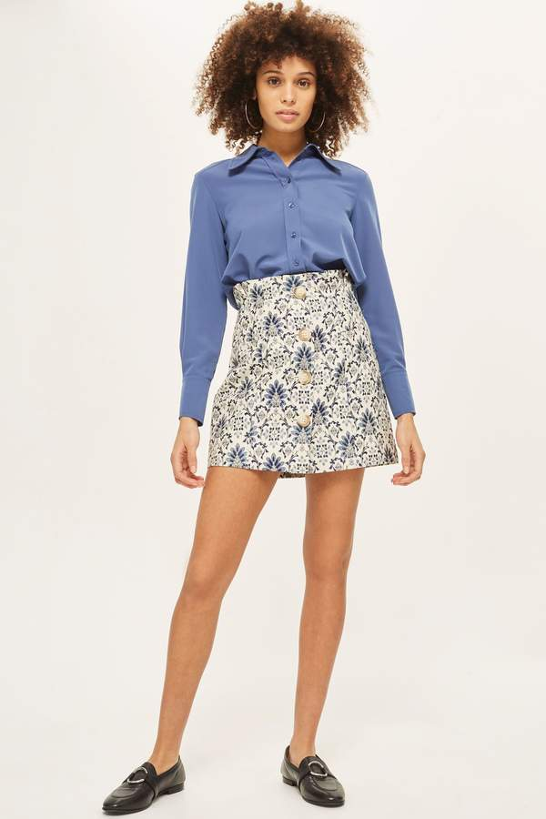Topshop Porcelain Jacquard Mini Skirt