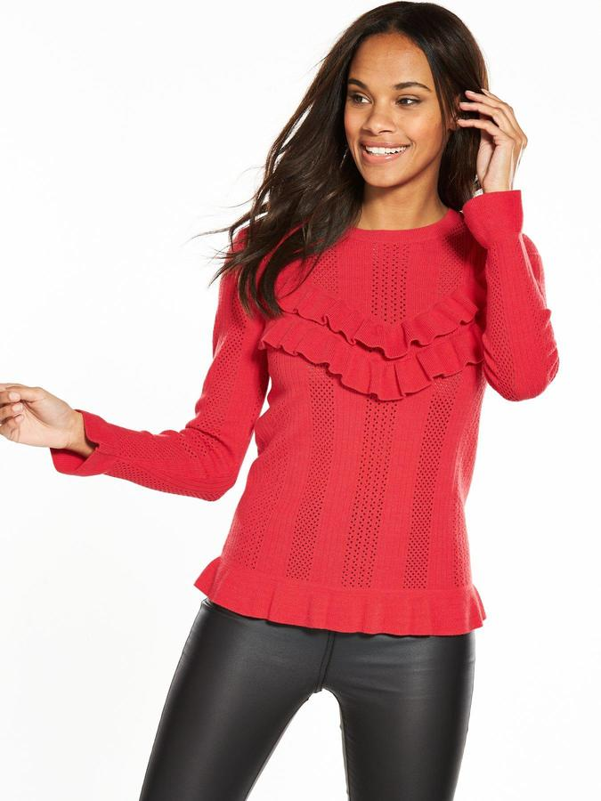 Very Pointelle Stitch Frill Jumper