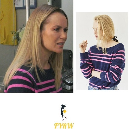 amanda Holden navy and pink striped jumper Ant and Dec SNTA february 2018