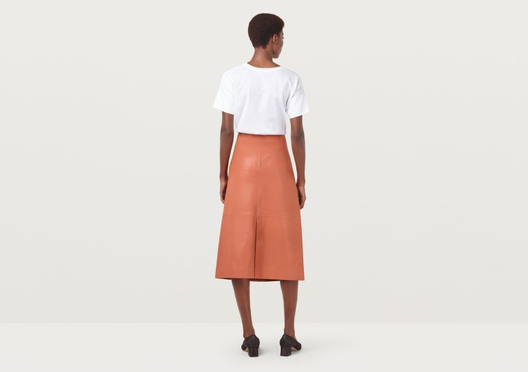 Finery Hector Rust Leather A-Line Skirt back view